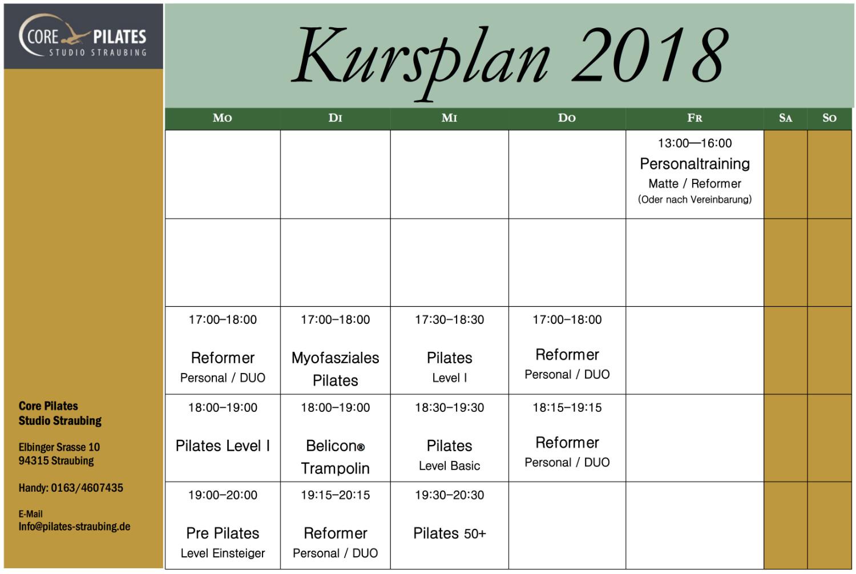Pilates Straubing Kursplan